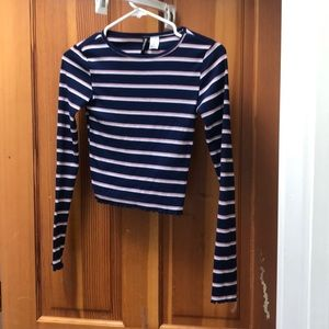 cropped striped cotton longsleeve , size XS